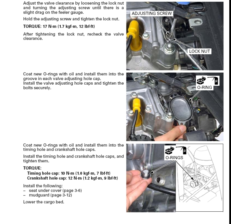 Valve Adjustment Procedures