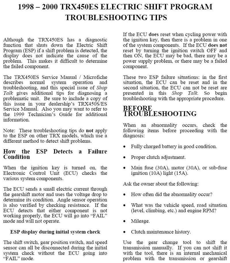 Inspirational Quotes On Pinterest: Troubleshooting ES Problems On Your 98-01 Foreman 450ES