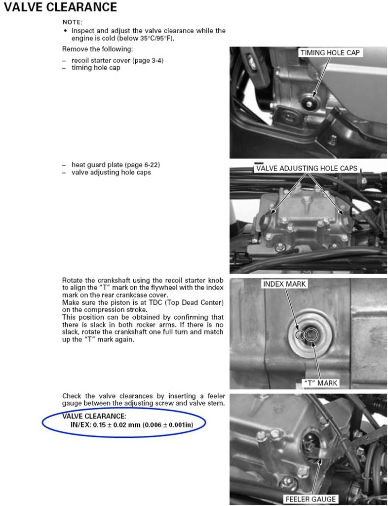 Valve Adjustment Procedures Trx 500 Honda Foreman Forums Rubicon Rincon Rancher And Recon