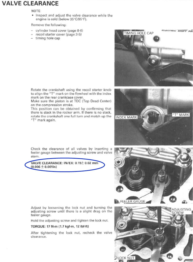 Valve adjustment procedures Rancher 350 all - Honda ...