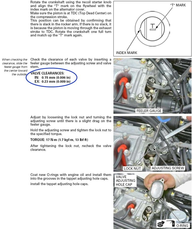 Valve adjustment procedures Rubicon 500 all - Honda Foreman